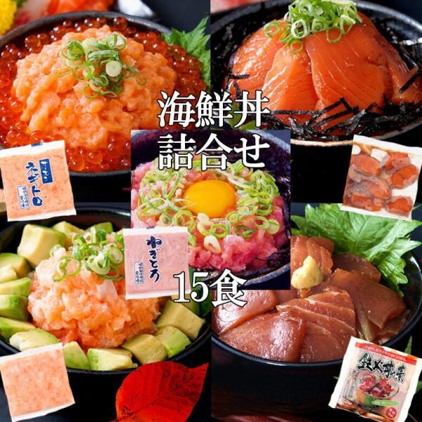海鮮丼詰合せ 計15食 (マグロ漬け3p+ネギトロ3P+サーモンネギトロ3p+トロサーモン3p+イカサーモン3P) 冷凍