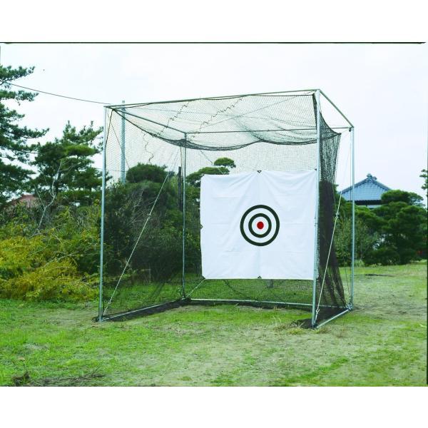 鵜沢ネット ホームゴルフネット GMタイプ 3×3×3m 色グリーン 組立簡単ネット吊り下げ式 日本製 ゴルフ練習|kodomor|01
