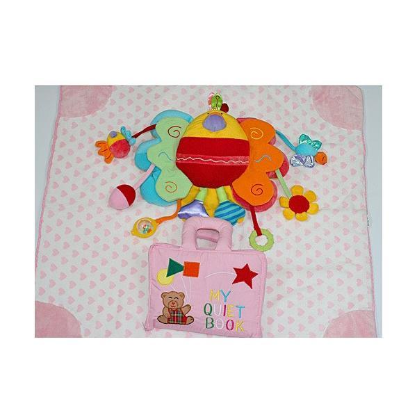 ギフトセット 布絵本 布おもちゃ ブランケット MY QUIET BOOKベア ピンク ピヨピヨバード ハート柄ブランケット ピンク 3点組み ハートフルギフトセット