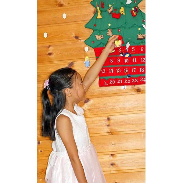 クリスマス           布のアドベント カレンダー         布の壁掛けクリスマスツリーボタンかけ    オーナメント24個付き  メリークリスマス!!|kodomoseikatsuclub|02