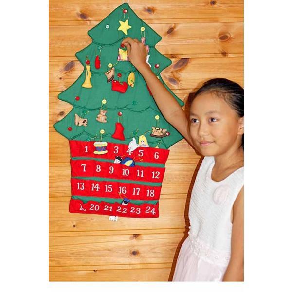 クリスマス           布のアドベント カレンダー         布の壁掛けクリスマスツリーボタンかけ    オーナメント24個付き  メリークリスマス!!|kodomoseikatsuclub|03