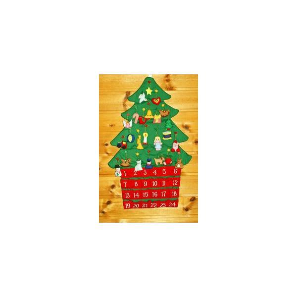 クリスマス           布のアドベント カレンダー         布の壁掛けクリスマスツリーボタンかけ    オーナメント24個付き  メリークリスマス!!|kodomoseikatsuclub|05
