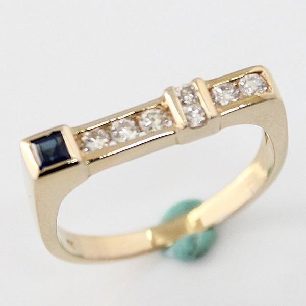K18 イエローゴールド サファイア/ダイヤモンドリング ファッションリング 指輪 S0.12 D0.21 3.3g サイズ13号 中古 質屋出品 MR1439