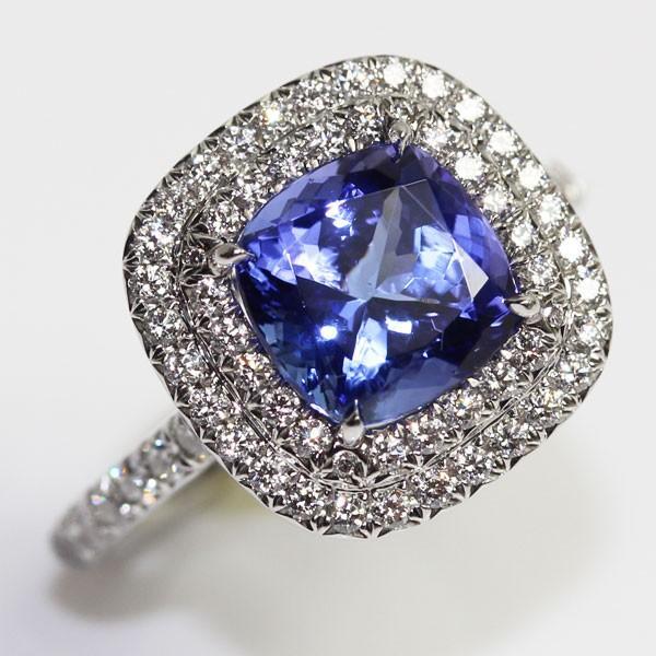 MR1397 中古 ティファニー TIFFANY&Co. ソレスト タンザナイト ダイヤ リング 約11.5号 PT950 プラチナ 指輪 TZ・2.0ct D0.45ct  質屋出品