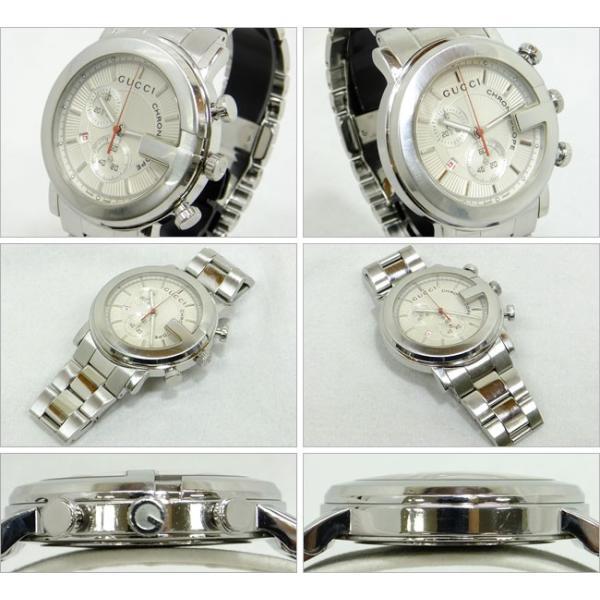 c99055e2a1a8 ... グッチ GUCCI Gフェイス クロノグラフ 101M メンズ マットシルバー文字盤 ギョシェ SS 腕時計 101M ...