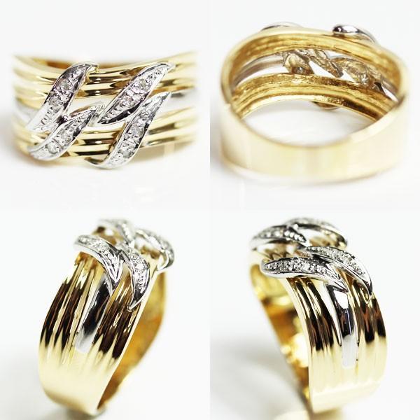 K18/PT イエローゴールド/プラチナ ファッションリングダイヤモンドリング D0.06 5.7g サイズ15号 中古 あすつく MR2523|koera|02