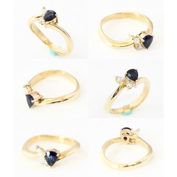 K18 イエローゴールド サファイア/ダイヤモンドリング ファッションリング 指輪 S0.414 D0.12 3.4g サイズ9号 中古 質屋出品 MR1427