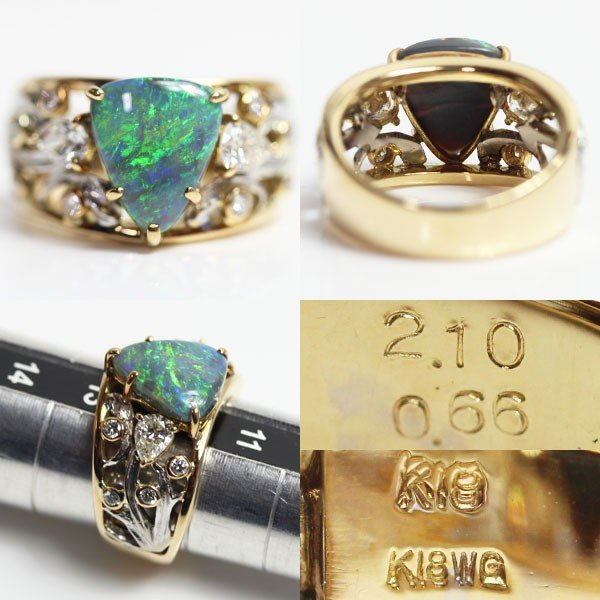 K18/K18WG イエローゴールド/ホワイトゴールドリング ファッションリング 指輪 オパール2.10ctダイヤ0.66ct 9.4g サイズ12号 中古 MR1464 質屋出品