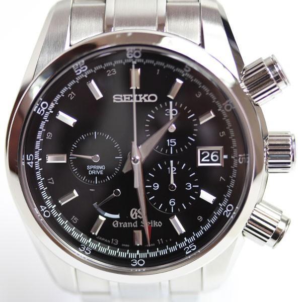 SEIKOセイコーGS・スプリングドライブクロノ9R86-0AA0/SBGC003自動巻黒文字盤メンズ腕時計オートマグランドセイ