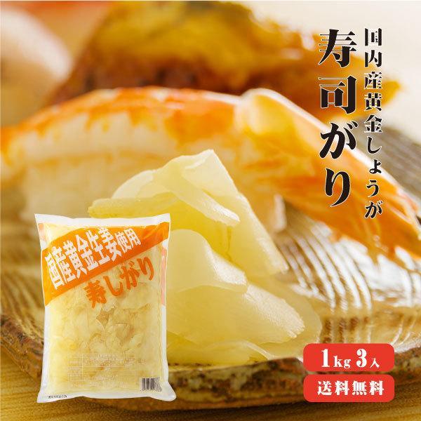国産黄金生姜 寿司がり 1Kg×3 送料無料 ガリ 国産 黄金しょうが 甘酢 しょうが 寿司 業務用 坂田信夫商店