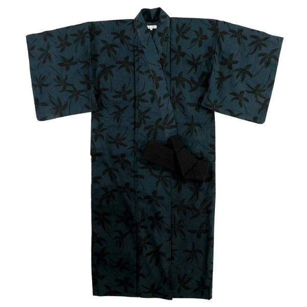 送料無料 ゆかた メンズ 男性 浴衣 帯 ボタニカル リーフ柄 プリント しじら織り 2点セット 男性浴衣 セット 作り帯 黒 青 花柄 着物 和装 男性用|kogare|09
