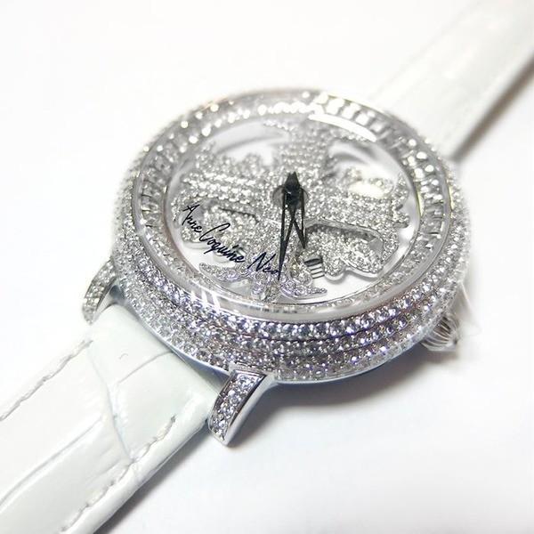 送料無料アンコキーヌ ネオ 40mm バイカラー ミニクロス シルバーベゼル インナーベゼルクリアー ホワイトベルト アルバ 正規品(腕時計・グルグル時計)