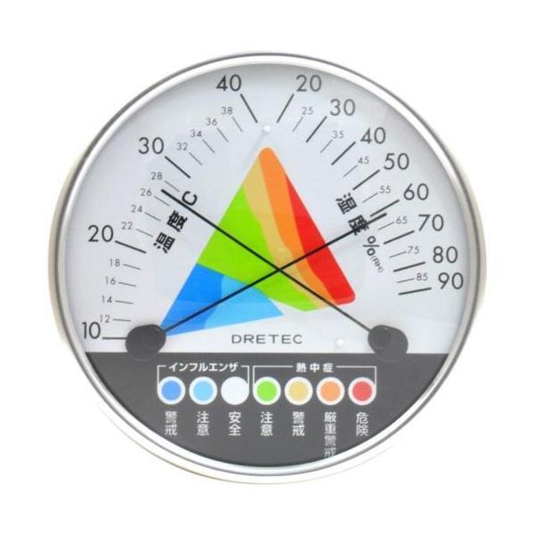 エバニュー EVERNEW 熱中症 インフルエンザ 警告 温湿度計 径12.7×厚さ3.2cm 壁掛用 温度計 湿度計 熱中症対策 スポーツ 運動 体育 学校 送料無料 EKJ121
