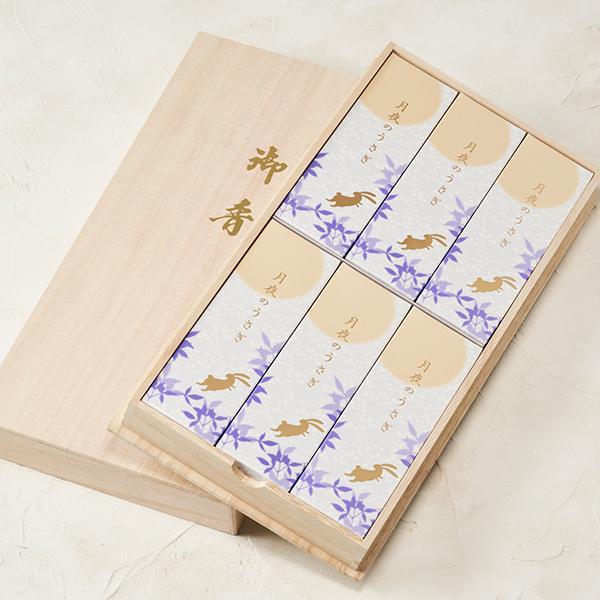 線香 ギフト 喪中 贈答用 日本香堂(送料無料)「 月夜のうさぎ 桐箱6入 」|kohgallery|02