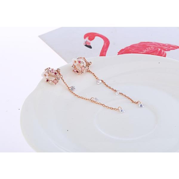 イヤリング レディース 揺れる 長い 可愛い フラワー 花 ピンク 送料無料 koisuru 06