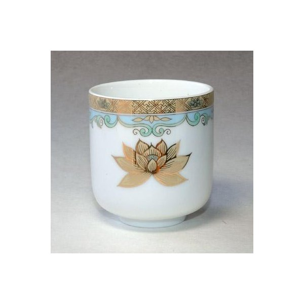 茶湯器/湯のみ/ゆのみ 湯呑み 金彩蓮(彩色+金の蓮) 2.0寸