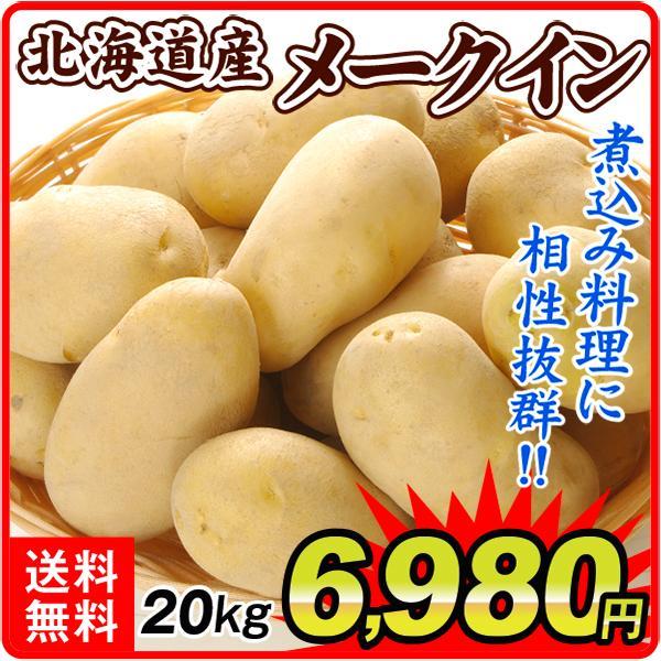 じゃがいも 北海道産 メークイン 20kg 1組 送料無料 食品 国華園