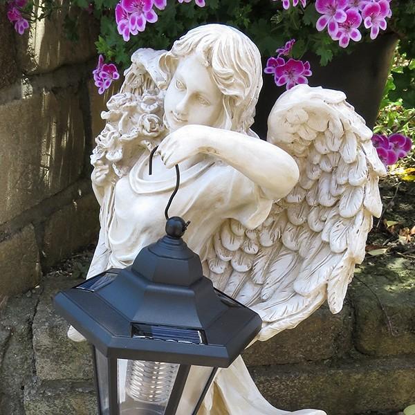 置物 ガーデンオーナメント ポリ製オーナメント ソーラーライト・灯火の天使 1個 幅25・奥行20・高さ45.5 国華園|kokkaen|05