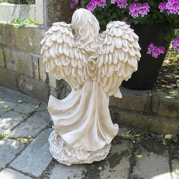 置物 ガーデンオーナメント ポリ製オーナメント ソーラーライト・灯火の天使 1個 幅25・奥行20・高さ45.5 国華園|kokkaen|06