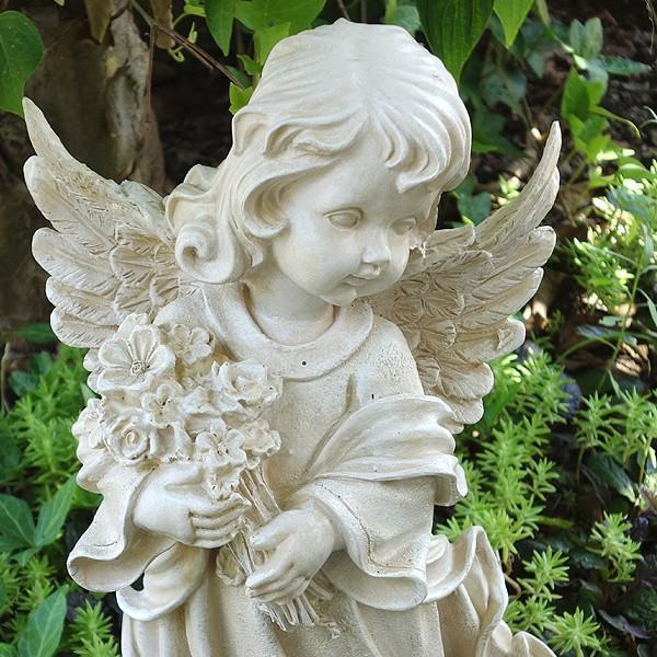 置物 ガーデンオーナメント ポリ製オーナメント 花束を抱えた天使 1個 エクステリア 幅22・奥行20・高さ38 国華園|kokkaen|02