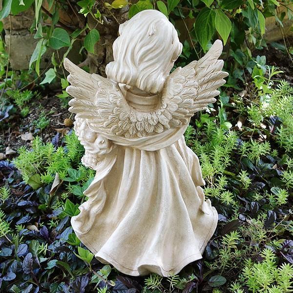 置物 ガーデンオーナメント ポリ製オーナメント 花束を抱えた天使 1個 エクステリア 幅22・奥行20・高さ38 国華園|kokkaen|03