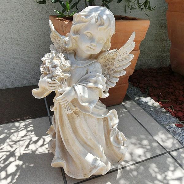 置物 ガーデンオーナメント ポリ製オーナメント 花束を抱えた天使 1個 エクステリア 幅22・奥行20・高さ38 国華園|kokkaen|04