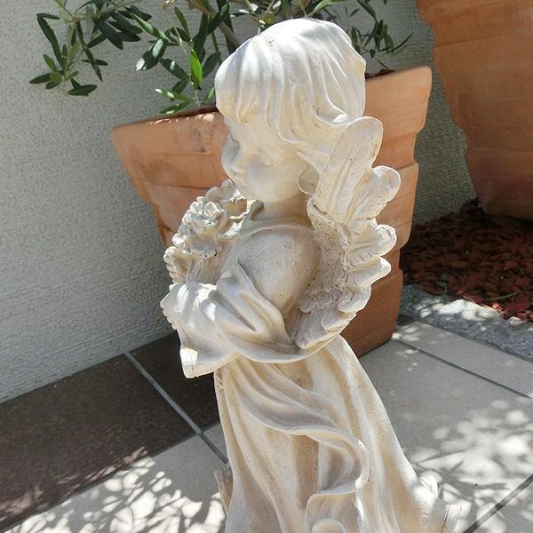 置物 ガーデンオーナメント ポリ製オーナメント 花束を抱えた天使 1個 エクステリア 幅22・奥行20・高さ38 国華園|kokkaen|05