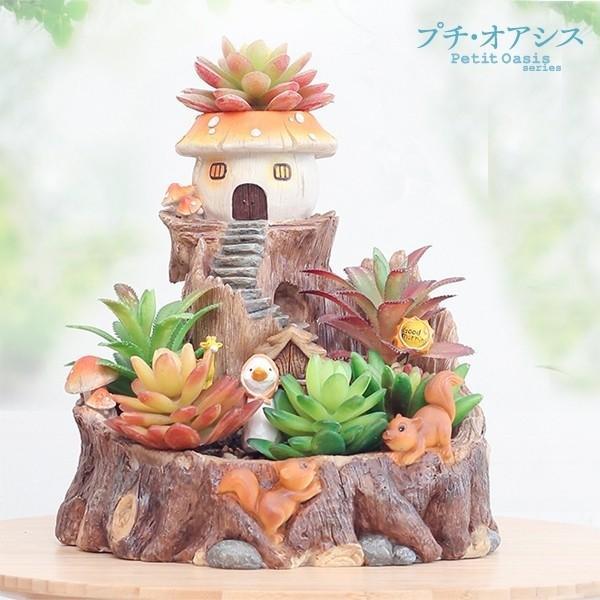 鉢 植木鉢 ポリ製 多肉植物 寄せ植え かわいい プチオアシス・キノコのおうち 1個 女性 プレゼント 国華園|kokkaen