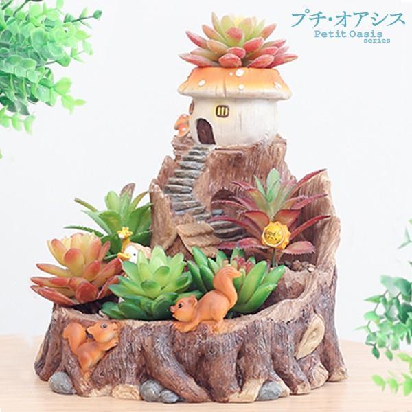 鉢 植木鉢 ポリ製 多肉植物 寄せ植え かわいい プチオアシス・キノコのおうち 1個 女性 プレゼント 国華園|kokkaen|02