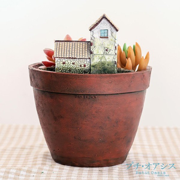 鉢 植木鉢 ポリ製 多肉植物 寄せ植え かわいい プチオアシス・とある田舎町 1個 女性 プレゼント|kokkaen|02