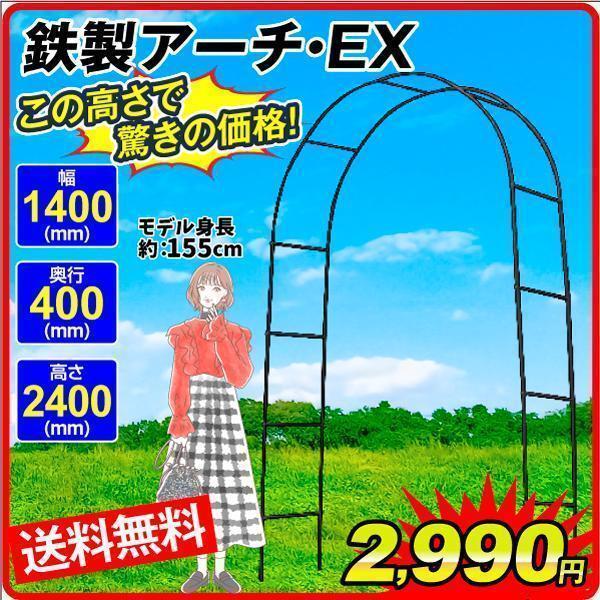 バラアーチ 鉄製アーチEX 1個 ガーデンアーチ ローズアーチ ガーデニング  幅140・奥行40・高さ240|kokkaen