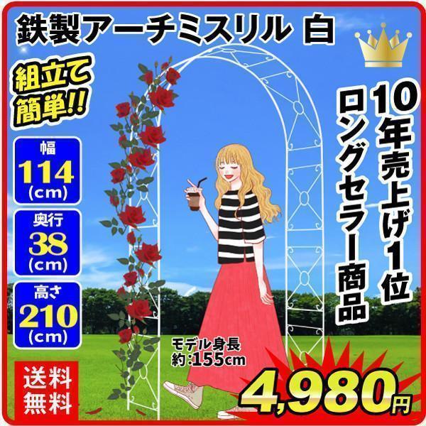 アーチ バラアーチ 鉄製アーチ・ミスリル 白 1個 ガーデンアーチ ローズアーチ ガーデニング|kokkaen