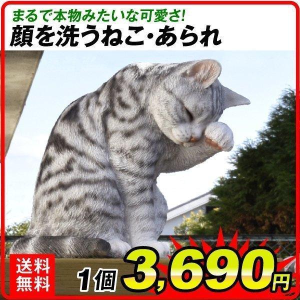 置物 ポリ製オーナメント 顔を洗うねこ・あられ 1個 幅17・奥行26・高さ23 猫 ネコ ガーデン ガーデニング オブジェ 置き物 雑貨 インテリア 女性  国華園|kokkaen