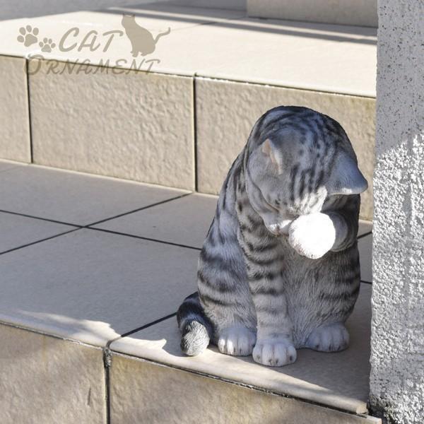 置物 ポリ製オーナメント 顔を洗うねこ・あられ 1個 幅17・奥行26・高さ23 猫 ネコ ガーデン ガーデニング オブジェ 置き物 雑貨 インテリア 女性  国華園|kokkaen|10