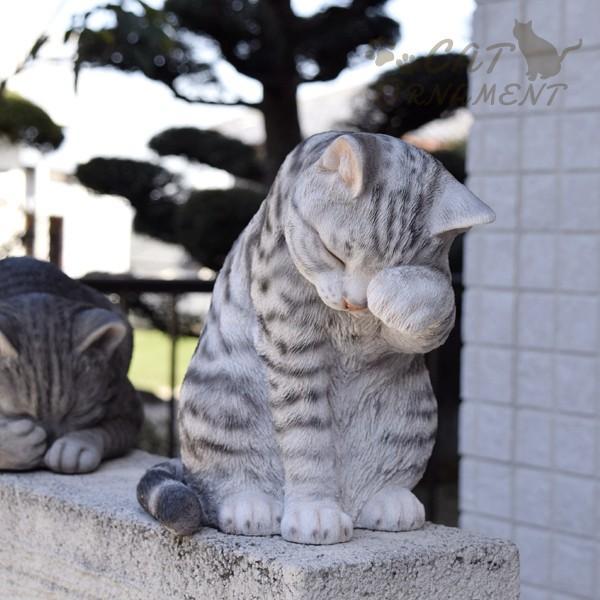 置物 ポリ製オーナメント 顔を洗うねこ・あられ 1個 幅17・奥行26・高さ23 猫 ネコ ガーデン ガーデニング オブジェ 置き物 雑貨 インテリア 女性  国華園|kokkaen|07