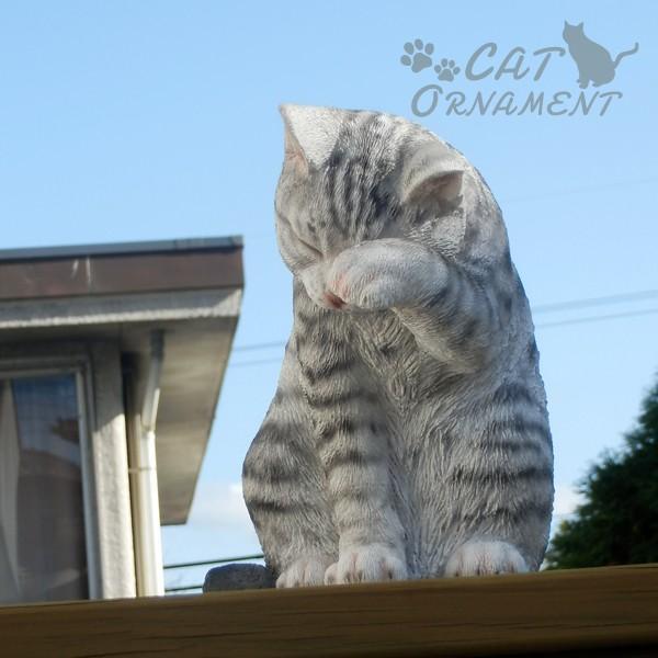 置物 ポリ製オーナメント 顔を洗うねこ・あられ 1個 幅17・奥行26・高さ23 猫 ネコ ガーデン ガーデニング オブジェ 置き物 雑貨 インテリア 女性  国華園|kokkaen|08