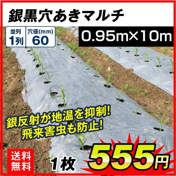 農業用マルチシート 農ポリ 銀黒穴あきマルチ 1列60 (0.95×10m) 1枚 少量 使い切り 農用 マルチング 被覆資材 ポリエチレン 国華園