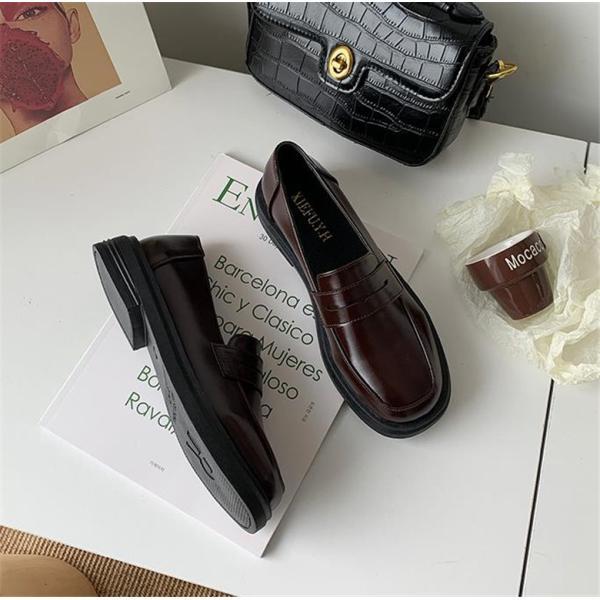 レディース  ローファー  パンプス  革靴  モカシン  カジュアル シューズ   通勤  スクール  ローヒール  スクエアートゥ