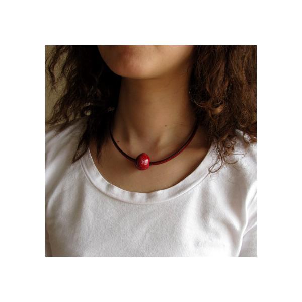 胸元に赤のポイント 楽赤×イタリアンレザー チョーカー kokochi 06