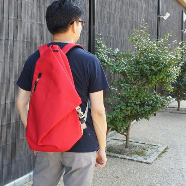 三角リュック コーデュラナイロン レッド  heart made factory ハーベスト H.M.F FY-0935|kokochi