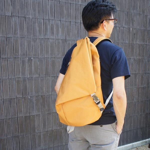 三角リュック コーデュラナイロン マスタード heart made factory ハーベスト H.M.F FY-0935|kokochi