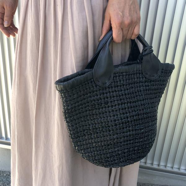 POMTATA ポンタタ カゴのような革トートバッグ AMICO P0115 ブラック|kokochi|02