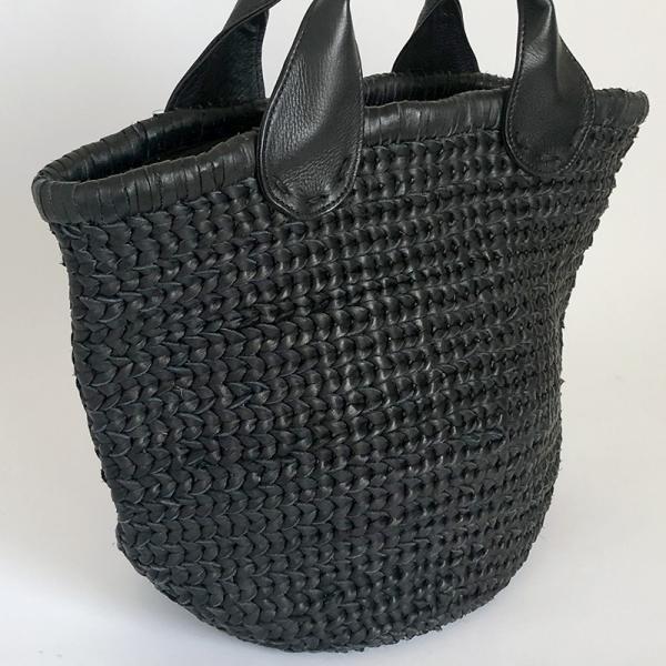 POMTATA ポンタタ カゴのような革トートバッグ AMICO P0115 ブラック|kokochi|03