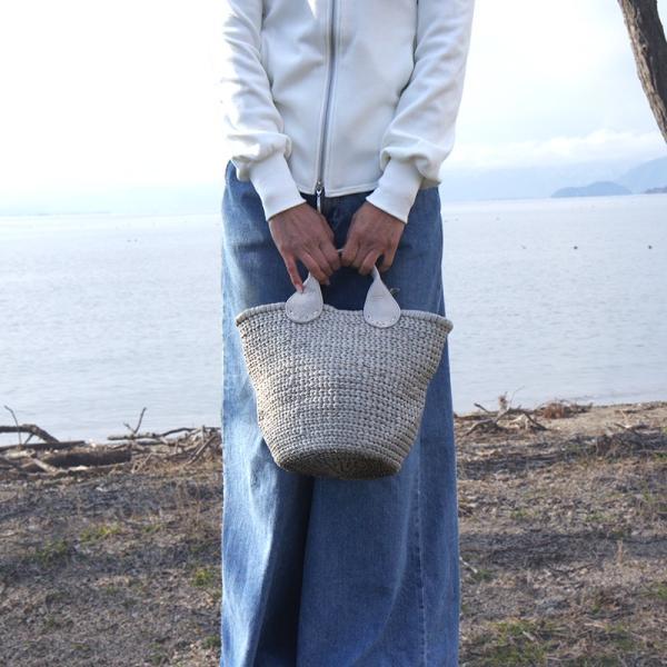 POMTATA ポンタタ カゴのような革トートバッグ AMICO P0115 ライトグレー kokochi 02