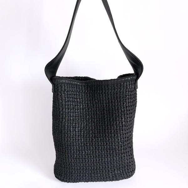 POMTATA ポンタタ カゴのような革ショルダーバッグ AMICO P0116 ブラック|kokochi|03
