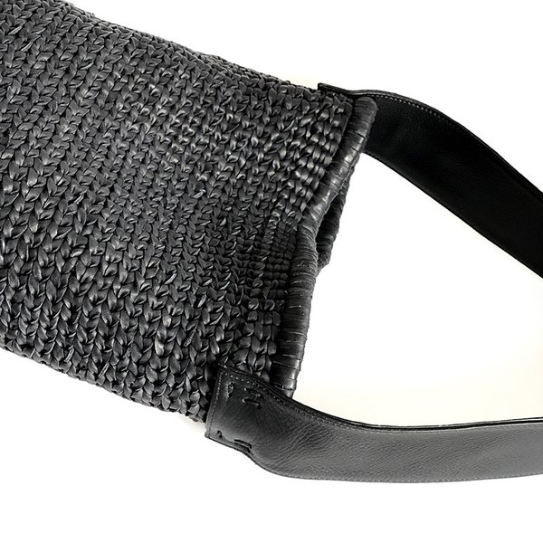 POMTATA ポンタタ カゴのような革ショルダーバッグ AMICO P0116 ブラック|kokochi|05