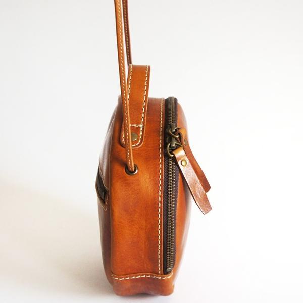 アインソフ(ain soph)革ポシェット 丸型・キャメルブラウン|kokochi|03