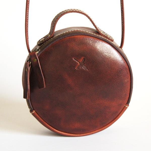 アインソフ(ain soph)革ポシェット 丸型・ダークブラウン|kokochi