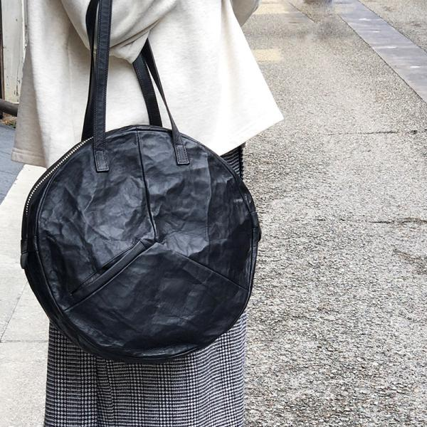 VIA DOAN ヴィアドアン Country 丸型レザートートバッグ 1704  アルミ貼り 黒 日本製 kokochi 11