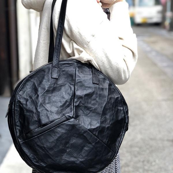 VIA DOAN ヴィアドアン Country 丸型レザートートバッグ 1704  アルミ貼り 黒 日本製 kokochi 12
